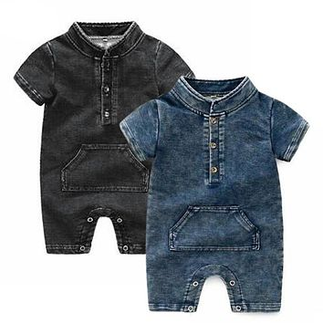 Baby Denim Romper High Quality Summer Infant Girls Jumpsuits Short Sleeve Newborns Boys Clothing Baby Outfits