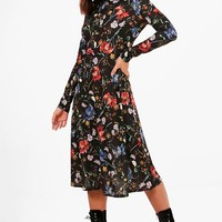 Ariella Floral Print Long Sleeve Skater Dress | Boohoo