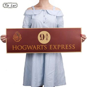 9 3/4 (nine and three quarters) Platform Harry Potter Movie Vintage Paper Decoration Poster Wall Stickers 72x24cm
