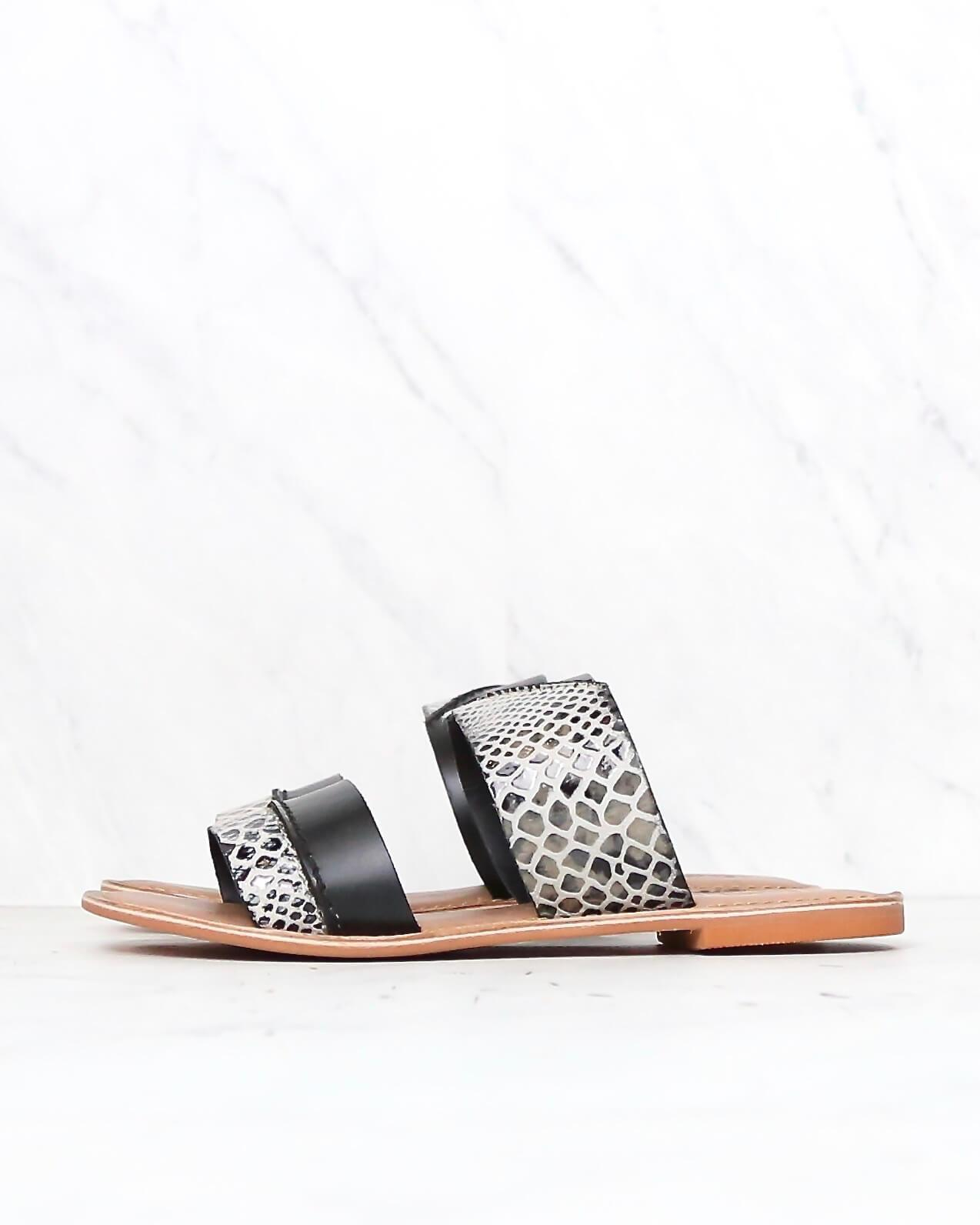 Image of BC Footwear - On The Spot Black Sandals with Exotic Print