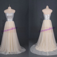 Floor length champagne tulle prom dress with sequins,inexpensive party dress on sale,elegant women gowns for evening hot.