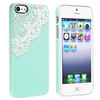 eForCity Snap-on Case compatible with Apple® iPhone® 5 / 5S, Mint Green with Lace Pearl