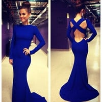 New Sexy Women Long Sleeve Prom Ball Cocktail Party Dress Formal Evening Gown