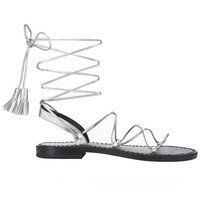 Lace up Sandals with Tassels in Silver