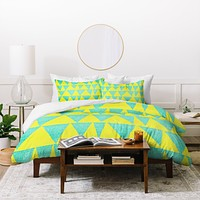 Nick Nelson Analogous Shapes With Gold Duvet Cover