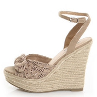 Natural Knotty Bow Espadrille Wedges