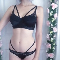 strappy retro black lace and satin bra and panty set
