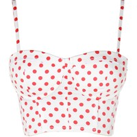 White Bralet With Red Polka Dot Crop Top