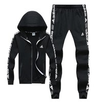 Adidas Autumn Winter Fashionable Women Men Print Hoodie Sweater Pants Trousers Set Two-Piece Black