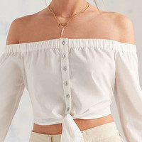 BDG Cindy Poplin Off-The-Shoulder Tie-Front Top | Urban Outfitters
