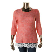 Style & Co. Womens Plus Knit Lace Trim Pullover Sweater