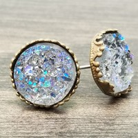 Ab grey faux druzy in Crown stud earrings (you pick setting tone)