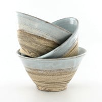 Ceramic Bowls / Nesting Bowls /  Pottery Handmade Rustic Dishes / Salsa Bowls / Chips and Dips /  Appetizers Dishes