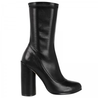 Cleo High Heeled Calf Boots In Black Faux Leather