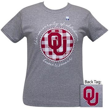 OU Oklahoma Sooners Buffalo Plaid Logo Sports Grey T-Shirt
