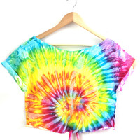 Bright Rainbow Tied Cropped Top