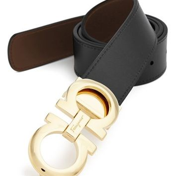 Men's Salvatore Ferragamo Reversible Leather Belt,