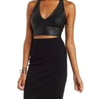 Plunging Faux Leather Crop Top with Caged T Back