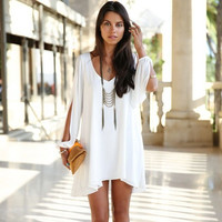 2014 New Summer Women Sexy Dress O-neck Strapless Chiffon Celebrity Mini Dress