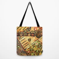 Tote Bag with abstract textured motifs, abstract art tote, brown tote, washable tote comes in three sizes, book bag, beach bag, shopping bag