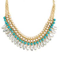 Crystal Clear Bib Necklace in Turquoise