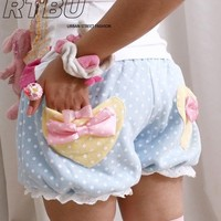 WARM Winter BabyDoll Japan Decora Pastel Polkadot Pumpkin Bubble Bloomer Shorts