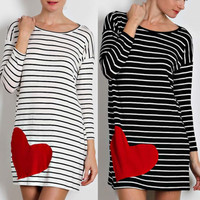 Heart Striped Knit Tunic Dress