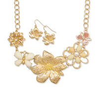 Spring Bouquet Fashion Necklace and Earring Set