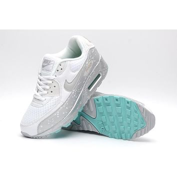 NIKE AIR MAX 90 fashion ladies men running sports shoes sneakers F-PS-XSDZBSH Grey starry sky + lake blue sole