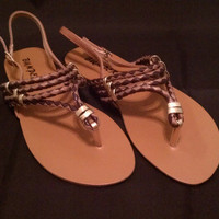 Brown and Gold Gladiator Sandal