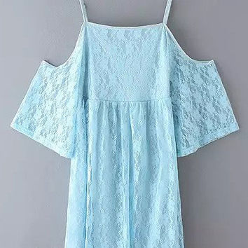 Blue Bell Sleeve Cold Shoulder Lace Dress