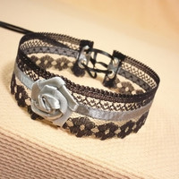 Victorian Lace Choker with Flower , Black and Grey, Baroque Necklace for Gothic, Renaissance and Baroque Style, Goth Wedding Accessory