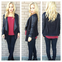 Black Wool Moto Blazer Jacket