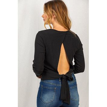 Let's Get To The Beach Black Open Back Long Sleeve Top