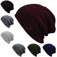Fashion Unisex Wool Blend Knit Beanie Oversize Spring Fall Winter Hat Ski Cap(7 Colors) [9833992975]