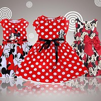 2015 New High Quality Short Sleeve Children Dress Cartoon Mouse Cotton Kids Dresses For Girls For Christmas New Year Clothes
