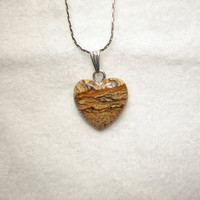 Picture Jasper Heart on Silver Plated Chain Necklace