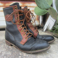 90s Justin Lace up Roper Boots, US 6 B EUR 36 UK 3,5 // Vintage Combat Boots // Cowgirl Leather Ankle Boots