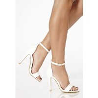 Missguided - Kazumi Leather High Heeled Sandals In White