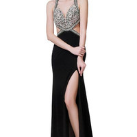 PRIMA 17-8718 Black Jeweled Top Cut Out Prom Dress Evening Gown