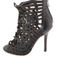 HeartSoul Laser Cut-Out Lace-Up Caged Heels