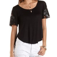 Lace Shoulder High-Low Tee by Charlotte Russe