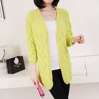 Casual knitting twist loose medium-long sweater cardigan outerwear