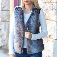 The Elli Faux Fur Vest {Charcoal Mix} - Size LARGE