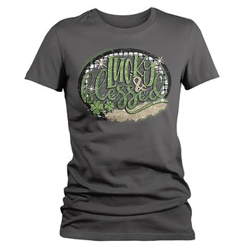 Women's Lucky And Blessed T-Shirt Cute Wreath St. Patrick's Day Shirts Graphic Tee Bless Ireland Tshirt TShirts