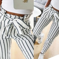 2019 fashion autumn women casual mid waist pants white striped bow tie drawstring sweet elastic waist pockets casual trousers