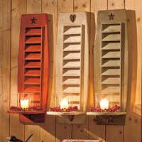 """Shutter Candle Sconce 22"""" Country Rustic Primitive Wood Red White"""