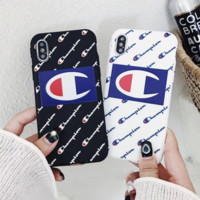 Champion New fashion more letters soft shell phone case iphone mobile phone protective cover two color