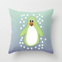 Blue and Green - Whimsical Penguin Throw Pillow by EML - CIrcusValley