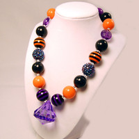 Halloween Necklace black, purple and orange Girls Boutique necklace Chunky Beaded Necklace infant and baby necklace